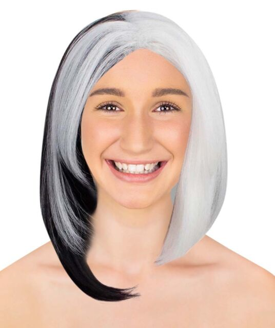 Women Black White Straight Wig for Cosplay Ms. Spot Halloween Party Hair  HW-1611 babfcf5506fc