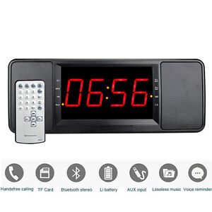 5w digital bluetooth speaker fm radio alarm clock mp3 player remote control as ebay. Black Bedroom Furniture Sets. Home Design Ideas