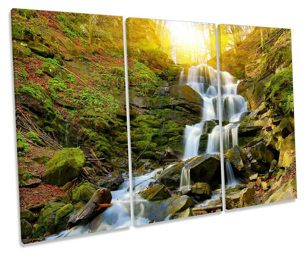 Sunset Forest Waterfall Picture TREBLE TREBLE TREBLE CANVAS WALL ART Print 879829