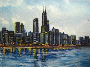 Watercolor-Painting-Chicago-Illinois-Downtown-City-Lake-Michigan-ACEO-Art