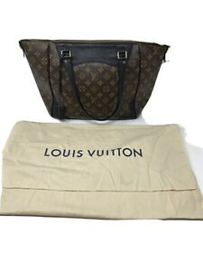 EUC-Louis-Vuitton-Brown-and-Black-Monogram-Leather-Tote-Bag-Made-in-USA