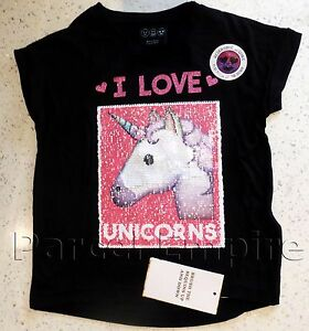 the amazing brush sequin tshirt reversible pandas unicorns girls top tee gift uk ebay. Black Bedroom Furniture Sets. Home Design Ideas