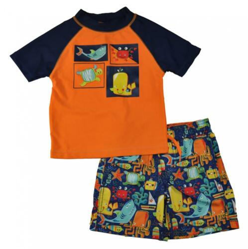 Kiko /& Max Toddler Boys Orange Two-Piece Rashguard Swim Set Size 2T 3T 4T