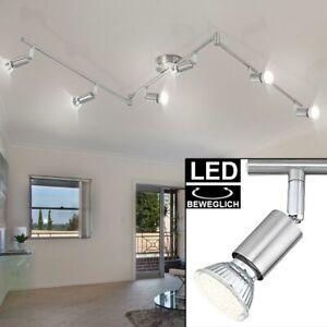 LED Kristall Decken Leuchte Chrom Spot Leiste verstellbar Ess Zimmer Glas Lampe