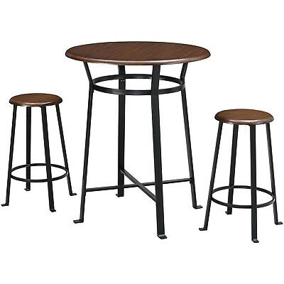 Admirable 3 Piece Pub Set Metal Frames Round Wooded Tops Table And Stools Dark Mahogany 735641699329 Ebay Ocoug Best Dining Table And Chair Ideas Images Ocougorg