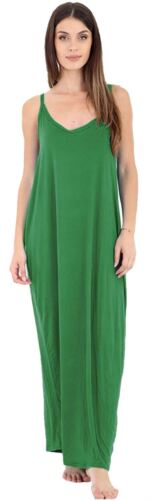 Ladies Cami Spaghetti Strappy Romper Style Lagenlook Drape Baggy Maxi Dress 8-26