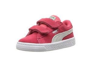 PUMA Shoes Girls Suede Classic V Toddler Infant Baby Kids Pink White ... f88340ac6