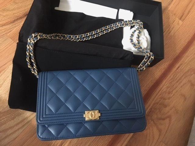 Chanel WOC Lambskin Le Boy Wallet On Chain Blue Cross Body Bag with BOX