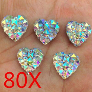 Wholesale-80X-Charms-Silver-Heart-Shape-Faced-Flat-Back-Resin-Beads-DIY-12mm-MY