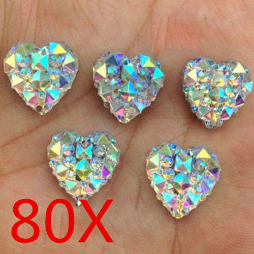 Wholesale 80Pcs Charms White AB Heart Shape Faced Flat Back Resin Beads DIY 12mm