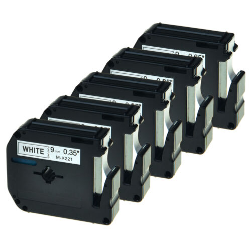 """5 PK MK-221 MK221 Black on White Label Tape For Brother P-touch PT65 PT110 3//8/"""""""
