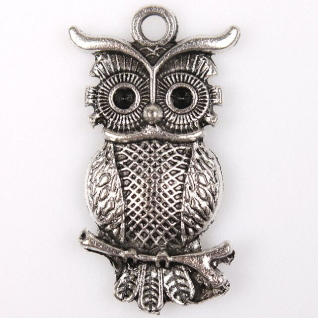 20x 145297 Fashion Dots Bank Owls Silver Charms Alloy Pendants Cute Findings