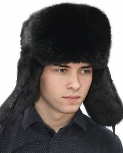 87b0a0aff2d Rabbit Full Fur Russian Ushanka Hat Real Fur Hat Chapka Black XS