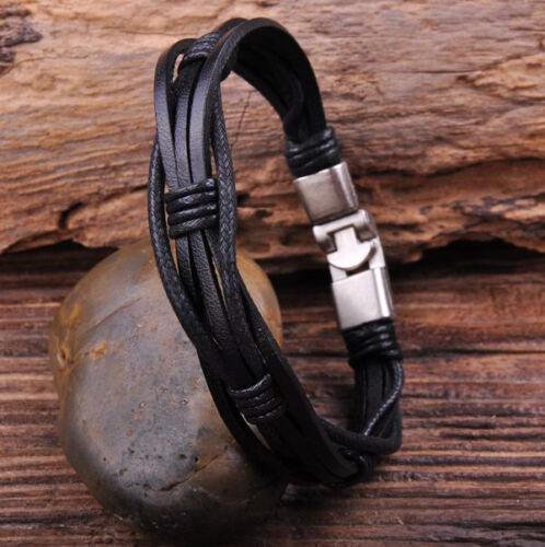 Lot 2pcs G27 Surfer Hemp Leather Hand Braided Mens Wristband Bracelet Cuff Black