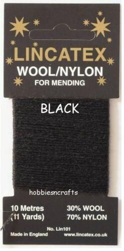 30/% Laine 70/% Nylon 10 Mètres Noir Fil Pour Reprisage /& Réparation Lincatex