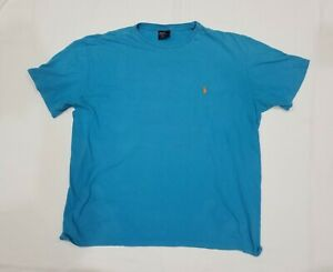 Men-s-Ralph-Lauren-T-Shirt-blue-with-orange-pony-Size-Large-FLAW