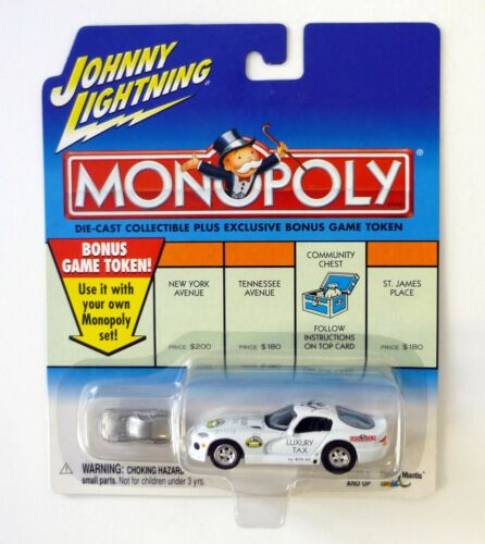 JOHNNY LIGHTNING LUXURY TAX DODGE VIPER Monopoly Die-Cast Car MOC COMPLETE 2001