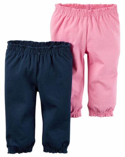 NEW Carter/'s Girls 2 Pack Dark Pink /& Navy Blue Girl Pants NWT 3m 6m 12m Cotton