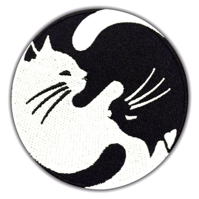 Yin Yang Cat Symbol Embroidered Patch Black White Iron On Applique