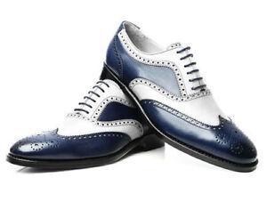 Homme-Fait-a-la-main-Chaussures-Richelieu-a-Bleu-Marine-amp-Blanc-Cuir-Veau-Bout-D-039-Aile-robe