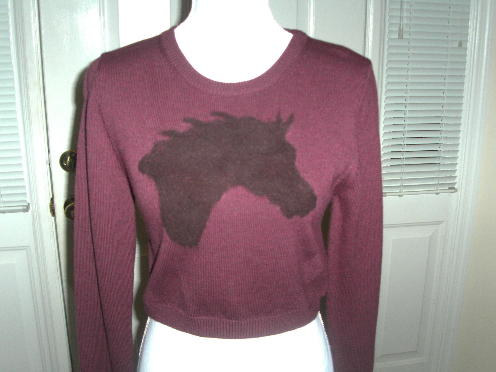 Sunday Best Cropped Steel Horse Horse Horse Sweater Aritzia NWT Size M Purple d88e3b