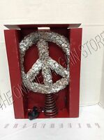 Pottery Barn Pre Lit Christmas Outdoor Pinecone Peace Sign Tree Topper Ornament
