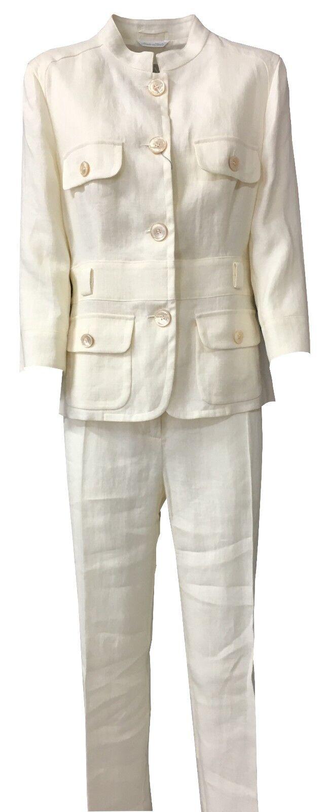 MAX MARA conjunto  de mujer (chaqueta+pantalones) Color marfil 100% lino  marcas de diseñadores baratos