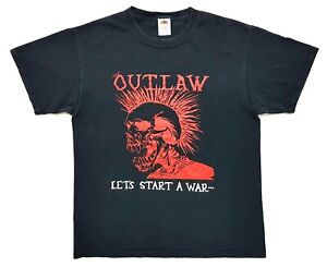 Vintage The Outlaw Lets Start A War Tee Black Size L Mens T-Shirt Exploited Punk
