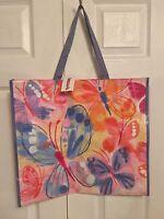 Tj Maxx Pink Yellow Purple Butterflies Shopping Bag Reusable Travel Tote