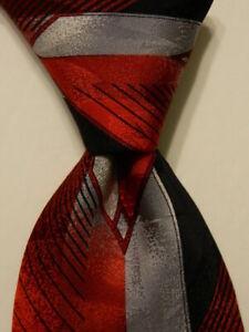 VITALIANO-PANCALDI-Men-039-s-100-Silk-Necktie-ITALY-Luxury-Red-Black-Gray-EUC-Rare