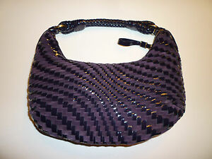 739015ed5f NWOT: COLE HAAN Brynn Purple Woven Patent Leather & Suede Hobo Bag ...