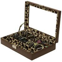 Ts5440brn- 6 Eyeglass Sunglass Storage Case Brown Leather Leopard