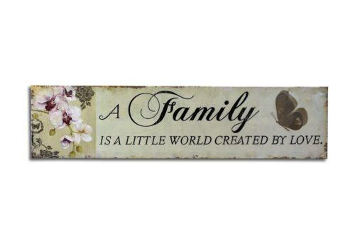Blechschild Family a little world createt by love Blechschild antik Shabby Chic