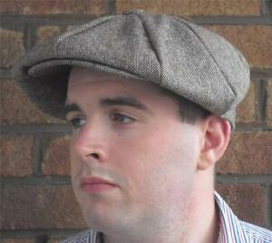 EDWARDIAN-PEAKY-BLINDERS-GANGSTER-NEWS-BOY-GATSBY-BROWN-TWEED-MARL-FLAT-CAP-HAT