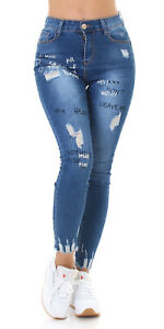 Jeans Denim Ladies High Waist Skinny Jeans Trousers Used Look With Logo