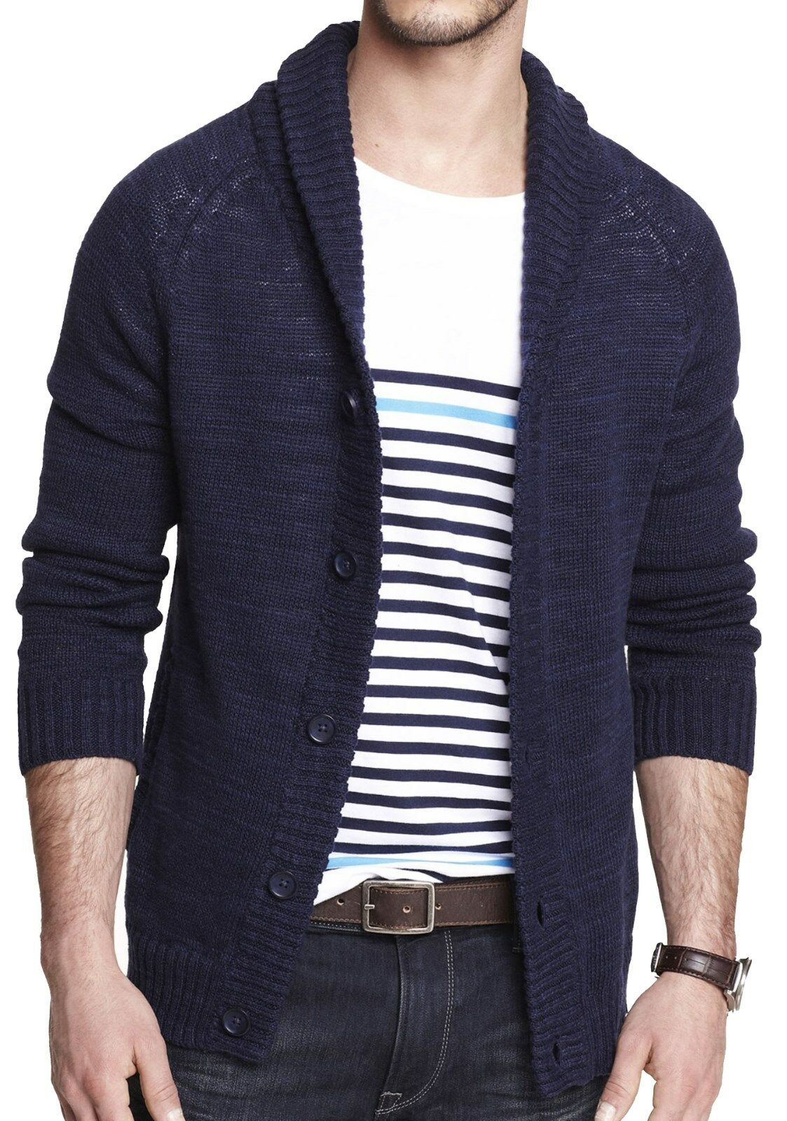 New EXPRESS  Herren Linen Cotton Ribbed Shawl Cardigan Sweater, NWT【XL】【110】LAST