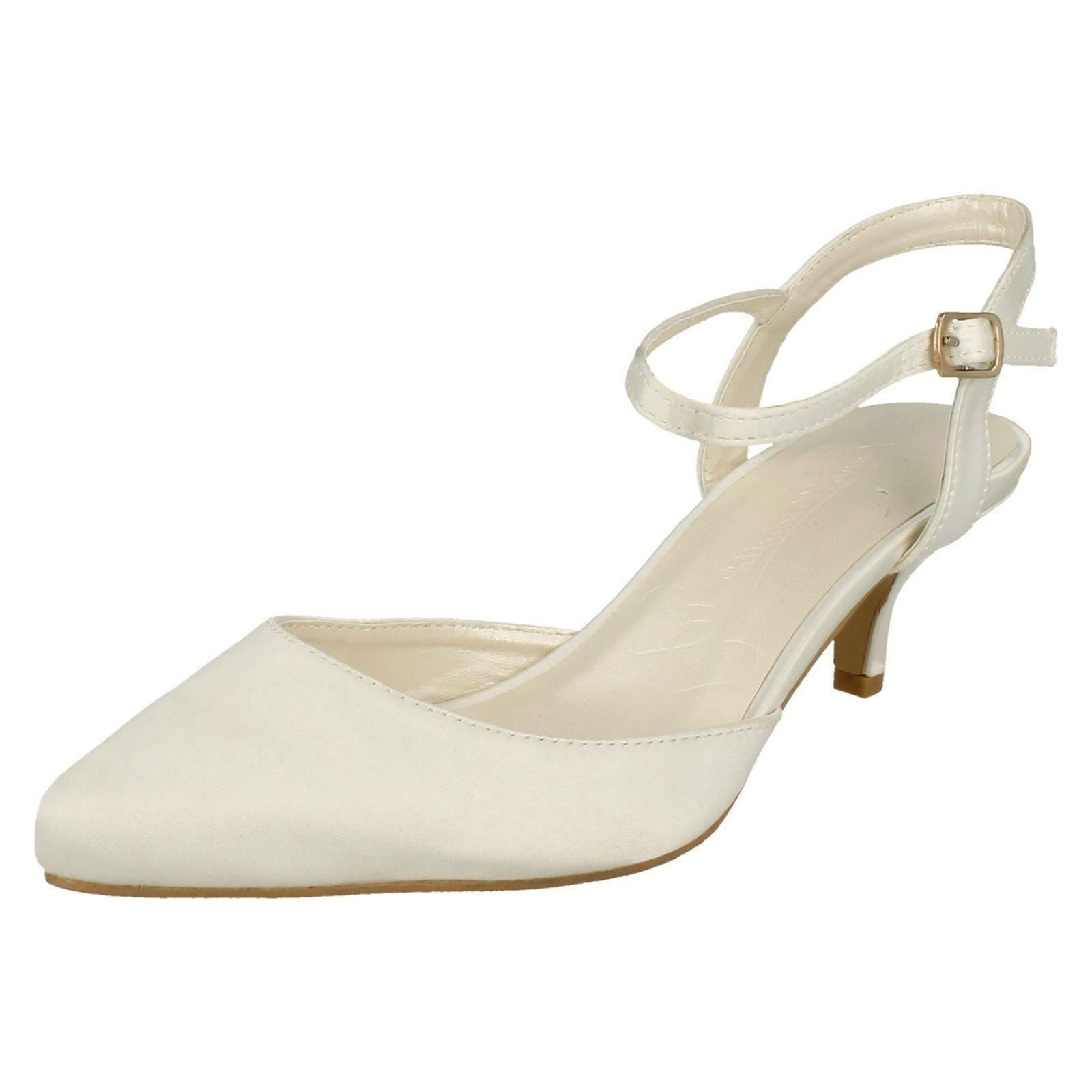 Anne Michelle F9R752 Ladies Ivory Satin Kitten Heel Wedding shoes (R13B)