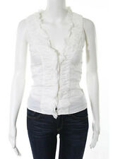 AUTH PRADA White Cotton Ruched Flutter Trim Sleeveless Button Down Blouse Sz 38