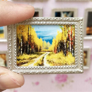 Vintage-Miniature-Dollhouse-Framed-Wall-Painting-Doll-Home-Decor-Accessorie-HU