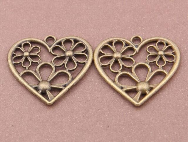 Bead Charms Accessories wholesale PJ1842 flowers pendant 50pc Retro Bronze