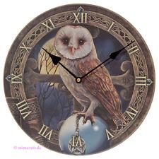Wanduhr Bilderuhr Uhr Bild Deko Eule Schleiereule mit Pentagramm und Vollmond