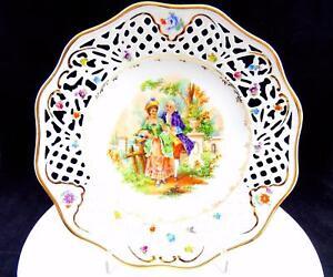 Cico-Aleman-Porcelana-Victoriano-Escena-Reticulado-21-9cm-Armario-Placa-1946-49