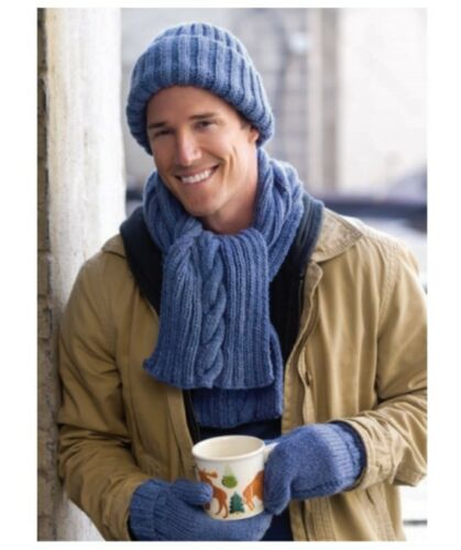 KNITTING PATTERN FOR MEN/'S HAT /& SCARF /& MITTENS HS29