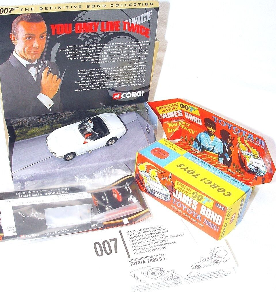 Corgi Toys 007 TOYOTA 2000 GT + JAMES BOND & AKI Figure + Repro Box 65102 MIB`01