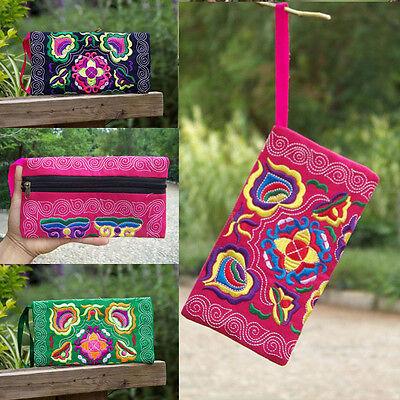 Women Embroidered Wallet Card Holder Zip Coin Purse Clutch Handbag Wristlet Bag