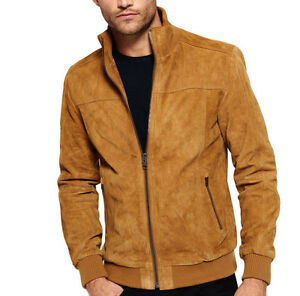 New Men Brown Suede Leather Jacket Slim Fit Biker Motorcycle Jacket