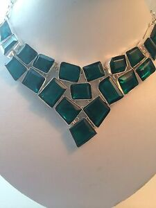 $200 GORGEOUS AAA TOP 925 STERLING SILVER NECKLACE EMERALD GREEN QUARTZ