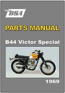 bsa parts manual b44 b44 vs victor special 1969 replacement spares rh ebay com bsa b44 shop manual BSA A7