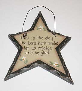 Primitive Carved Look Star This Is The Day The Lord Hath