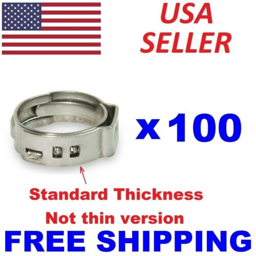 100 pc 5/8 PEX Stainless Steel Pex Clamp Cinch Ring Crimp Pinch Fitting ASTM US